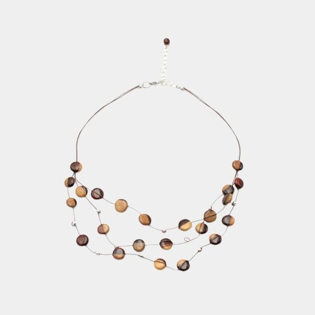 Double Tone Triple Wire Wooden Necklace - Marty