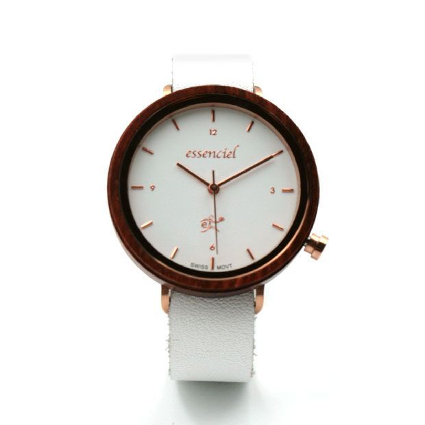Watch in wood and white leather - Eve